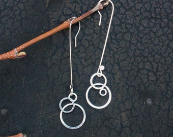 Small Dangling Moons handmade hammered sterling silver earrings