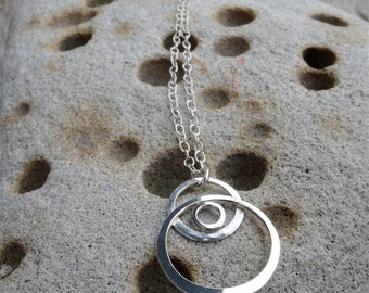 Dangling Moons Third Eye handmade hammered sterling silver charm necklace