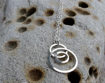 Small Moons handmade hammered sterling silver charm necklace