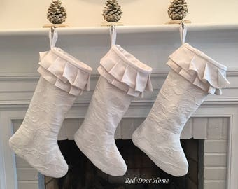 White Matelasse Christmas Stocking Linen Chenille Ruffle Girl