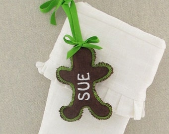 Personalized Christmas Stocking Tag Ornament Embroidered Name Label Gingerbread Woman Girl Gift Wedding Favor