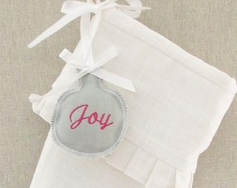 Personalized Embroidered Christmas Stocking Tag Label Ornament Grey Gift Wedding Favor