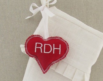 Personalized Christmas Stocking Tag Label Ornament Embroidered Name Red Heart Gift Wedding Favor