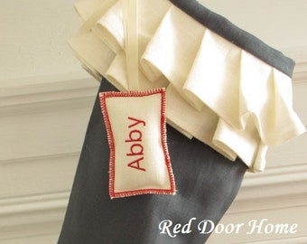 Personalized Christmas Stocking Tag Rectangle Name Label Ornament Gift Wedding Favor Monogram