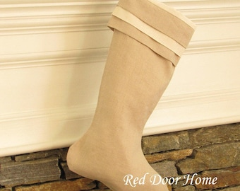Linen Christmas Stocking Tan Beige Cuff Natural Better Homes and Gardens