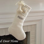Personalized Dog Christmas Stocking Linen Burlap Embroidered Winter White Pet One Button Rosette