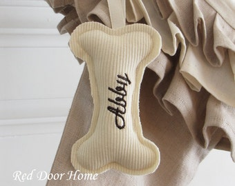 Dog Personalized Christmas Stocking Tag Embroidered Ornament Monogram Gift Label