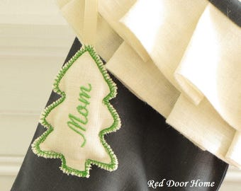 Christmas Stocking Personalized Embroidered Tag Ornament Tree Name Label Gift Name Wedding Favor Monogram