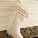 Custome Order for Morgan - White Linen Christmas Stocking Ruffle Top