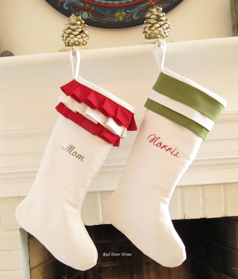 Personalized Christmas Stockings Linen Pair White Green Red image 0