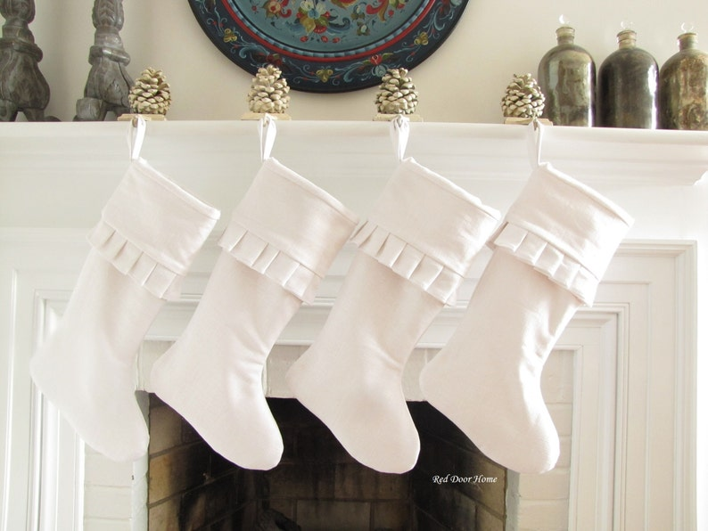 White Linen Christmas Stocking Cuff Ruffle Top image 0