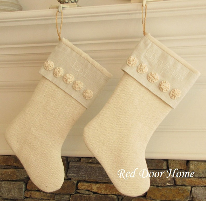 Personalized Christmas Stocking Burlap Linen Embroidered image 0