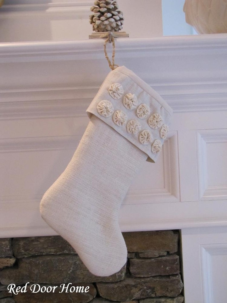 Burlap Christmas Stocking Linen Winter White with Small image 0