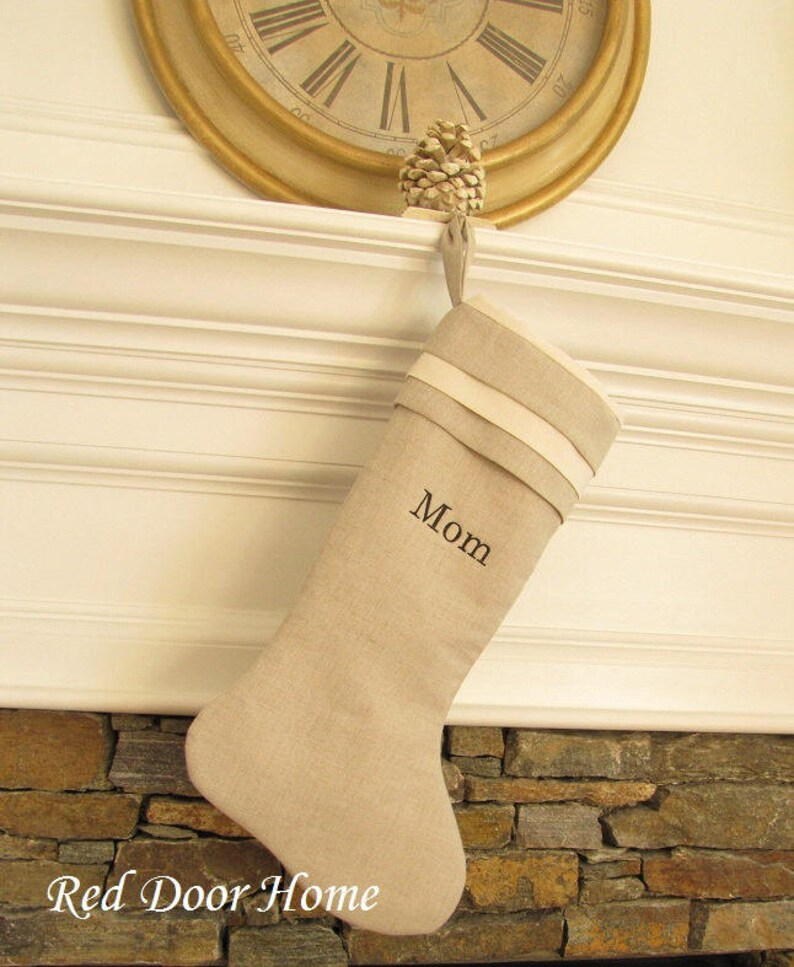 Personalized Linen Christmas Stocking Embroidered Cuff Top image 0