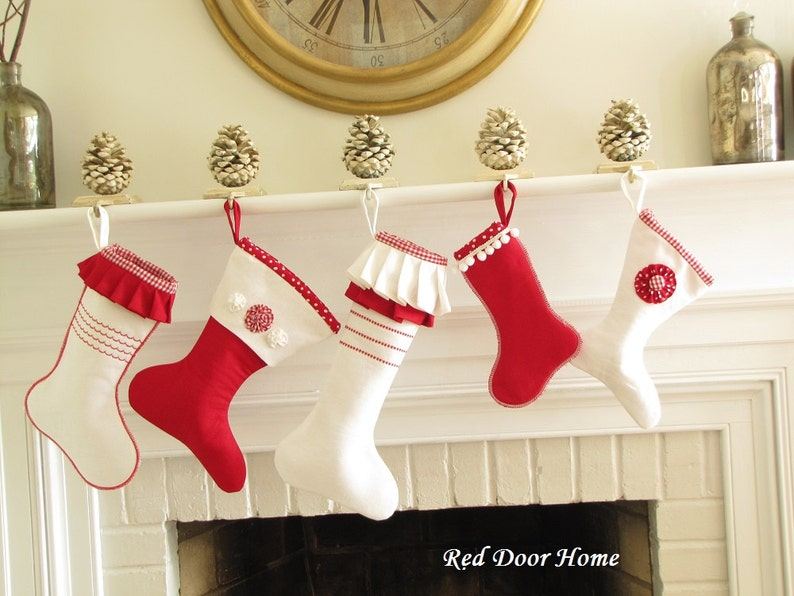 SALE Linen Christmas Stocking Red White Set of 5 image 0