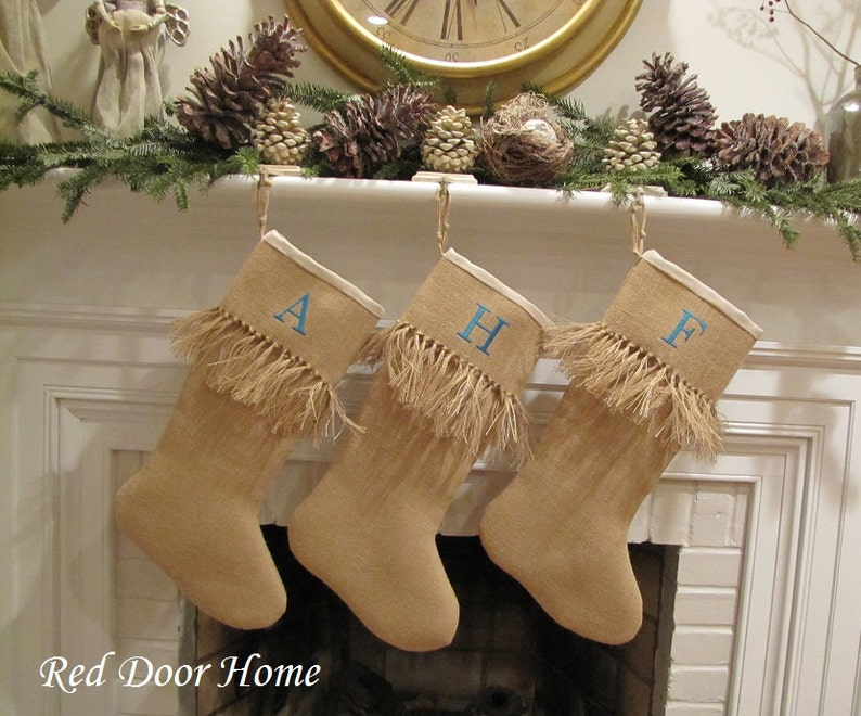 Burlap Personalized Christmas Stocking Embroidered Knotted image 0