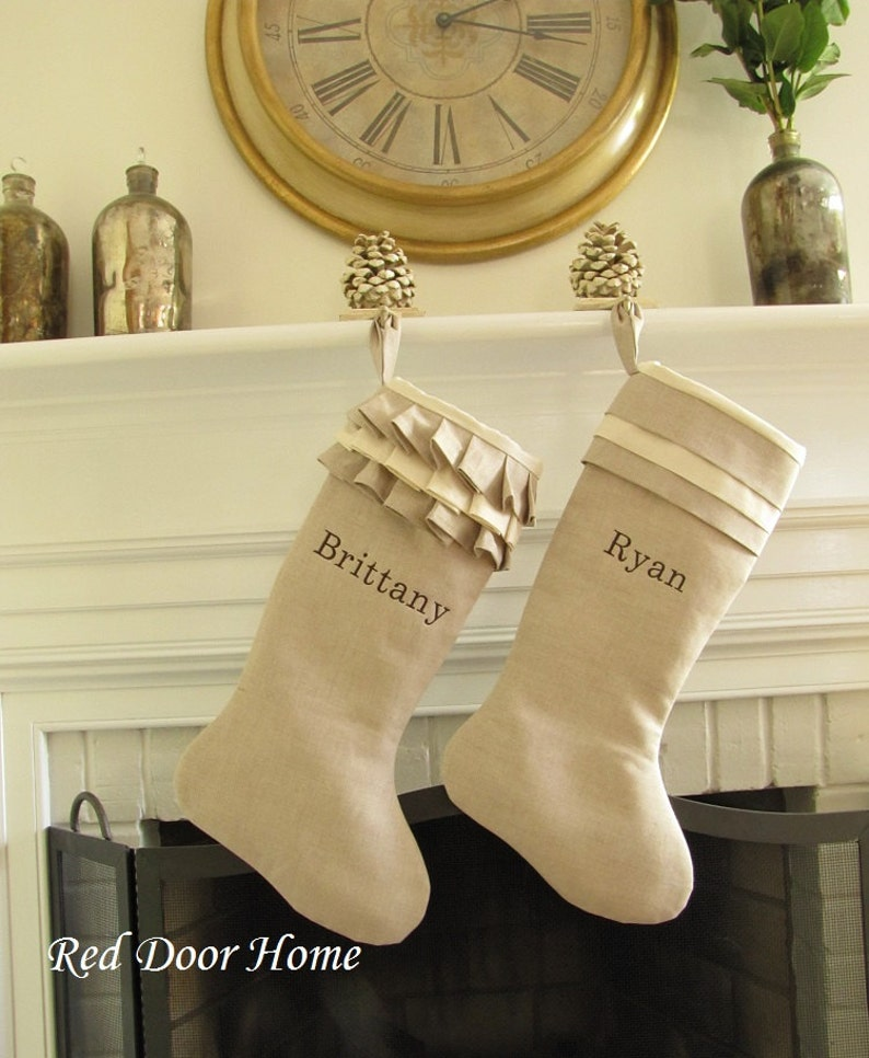 Christmas Stocking Personalized Linen Pair Embroidered Name image 0