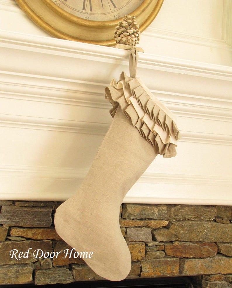 Linen Christmas Stocking Stockings Ruffle Top Better Homes and image 0