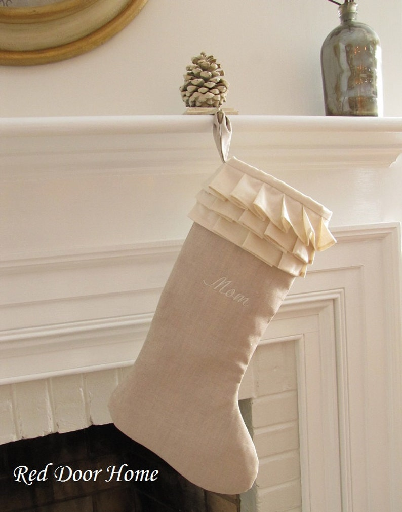 Personalized Linen Christmas Stocking Ivory Ruffle White image 0