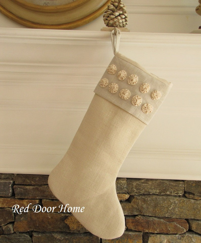 Burlap Linen Christmas Stocking Winter White Rosettes image 0