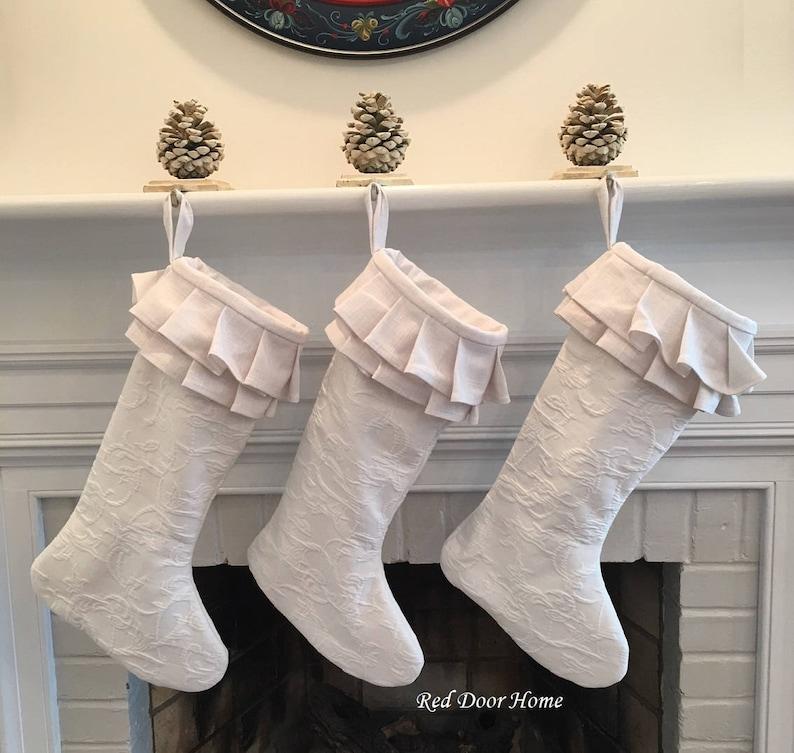 White Matelasse Christmas Stocking Linen Chenille Ruffle Girl image 0