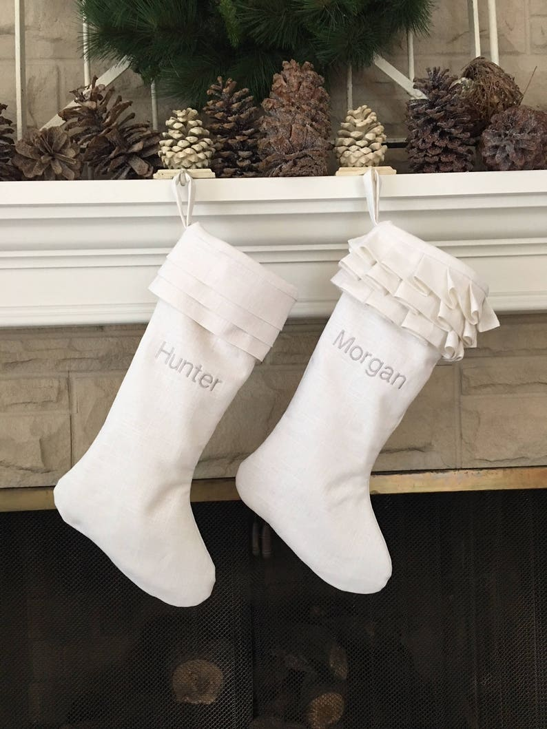 White Linen Personalized Christmas Stockings Pair Embroidered image 0