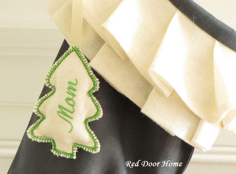 Christmas Stocking Personalized Embroidered Tag Ornament Tree image 0