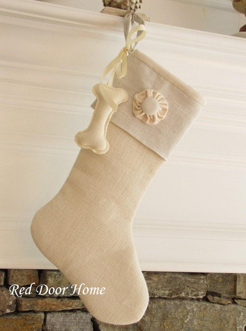 Dog Christmas Stocking Linen Burlap Winter White One Button image 0