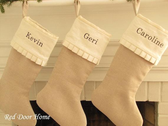 Personalized Linen Christmas Stocking Embroidered White Ruffle Monogram Girl