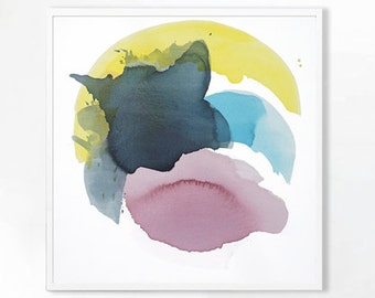"Large Abstract Watercolor Canvas, pink, yellow, blue, 48 x 48"" ""Spring Burst"" mid century inspired art, contemporary original abstract art"