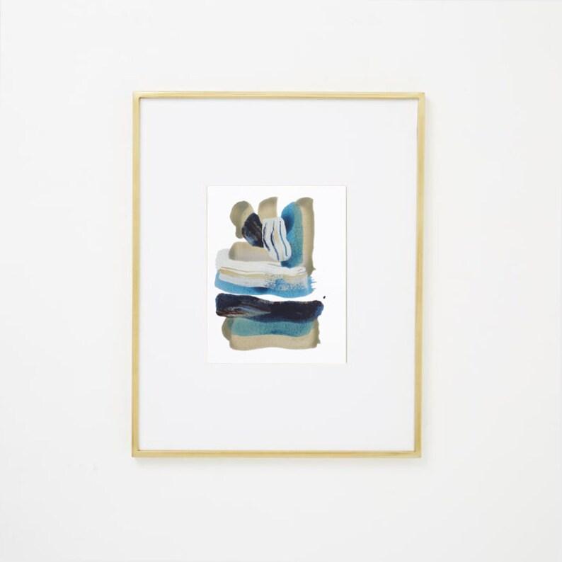 94731b83fab8f Fluid Abstract Watercolor Art on Paper, grey cream, aqua, blue navy, 8x10