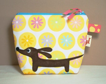 Doxie in the Daisy Dot Garden Appliqued Dachshund Whimsy Bucket POUCH Cosmetic Case Featuring Our Exclusive Custom Fabric