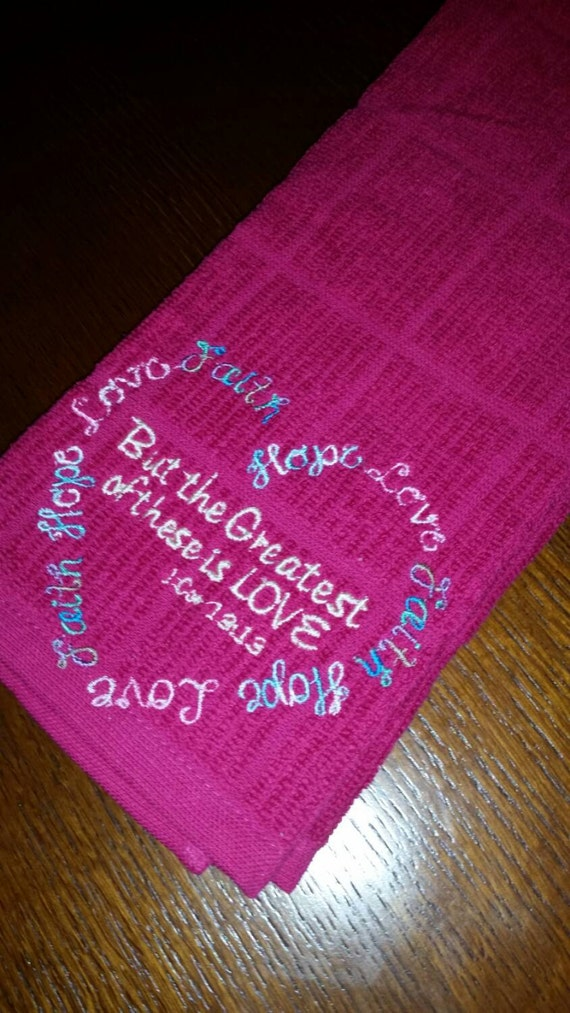 Pink kitchen towel, kitcgen towel, heart towel, Hot pink kitchen towel  embroidered with faith, hope, love