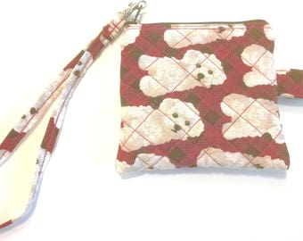 White Dog on Red Plaid Fabric Coin Purse Keychain