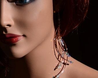 Angel Wings, Copper and Sterling Swarovski Earrings