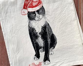 Fussy Figaro Cat Christmas Towel, Santa Cat, Tuxedo Cat Holiday Decoration, Cat Christmas - Hand Printed Flour Sack Tea Towel, Dish Towel