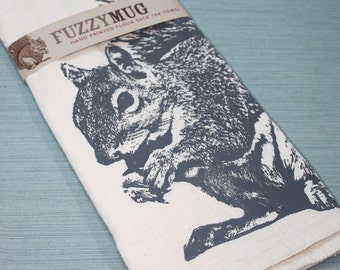 Squirrel Tea Towel in Gray - Hand Printed Flour Sack Tea Towel (Unbleached Cotton)