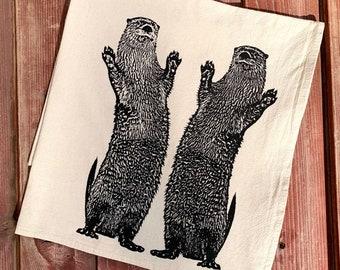 Otter Tea Towel, Flour Sack Tea Towel, Dancing Otters, Happy Dance