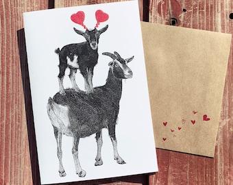 Goat Card, Goat Valentine, Goat Birthday Card