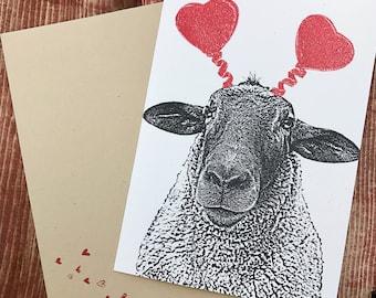 Sheep Lamb Love - Wedding Anniversary Valentine Card