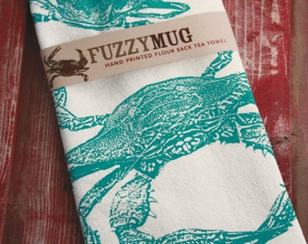Crab Tea Towel in Teal - Hand Printed Flour Sack Tea Towel, Kitchen Towel
