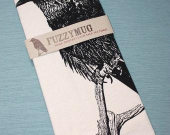 Raven Tea Towel - Hand Printed Flour Sack Tea Towel, Raven Towel