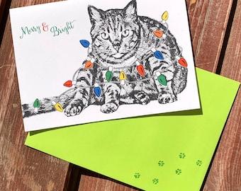 SET OF 4 Christmas Cat, Christmas Light, Christmas Kitty Card - Holiday Card, Merry and Bright