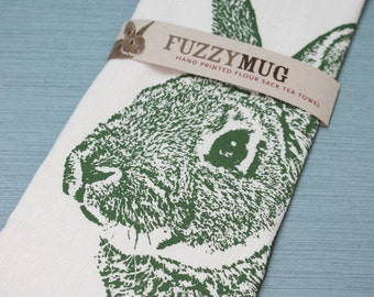Bunny Tea Towel in Moss, Rabbit Tea Towel - Hand Printed Flour Sack Tea Towel (unbleached cotton)