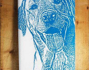 Happy Lab Tea Towel in Royal Blue, Labrador Retriever Tea Towel - Hand Printed Flour Sack Tea Towel, Dog Towel