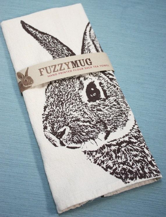 Flour Sack Tea Towel Red Rabbit