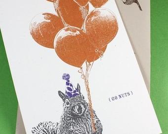 Silly Squirrel Birthday Card - Go Nuts, Funny Birthday Card, Recycled