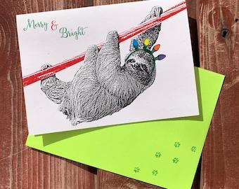Christmas SLOTH, Christmas Lights, Sloth Card - Holiday Card, Merry and Bright