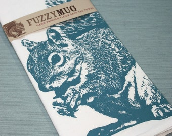 Squirrel Tea Towel in Blue - Hand Printed Flour Sack Tea Towel