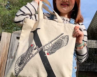 Cicada Tote Bag, cicada tote, Brood X Bag, Cicada Purse, 17 Year Cicadas, Insect Tote Bag